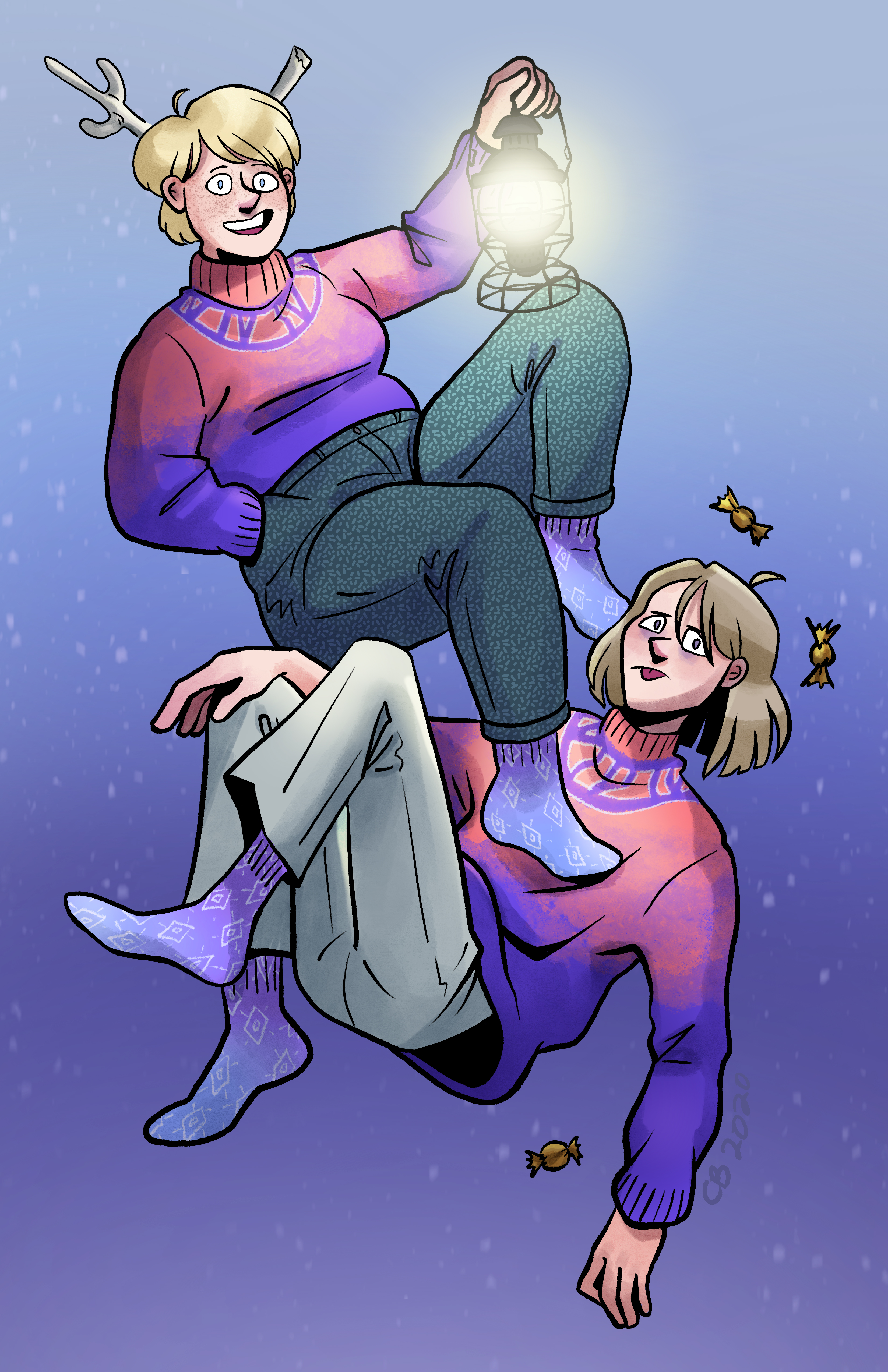 Freya and Corin are sitting/floating in front of a purple/blue gradient background. Freya, holding a lantern, is happy, while Corin, whom Freya is stepping on, is displeased.