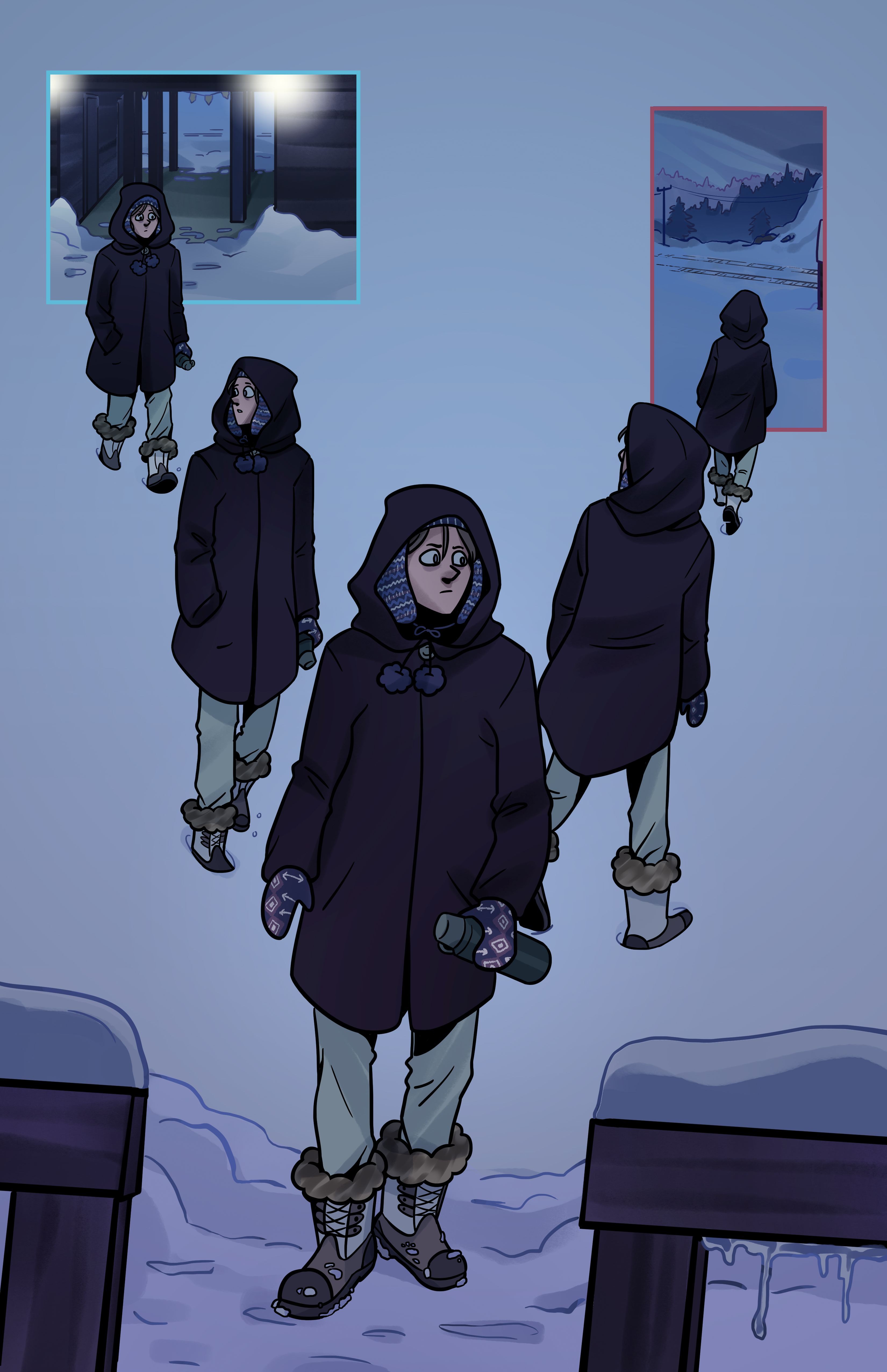 Corin walks to his house, but before entering, turns around and heads towards the woods.